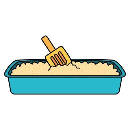sand box cat bath with shovel vector illustration design