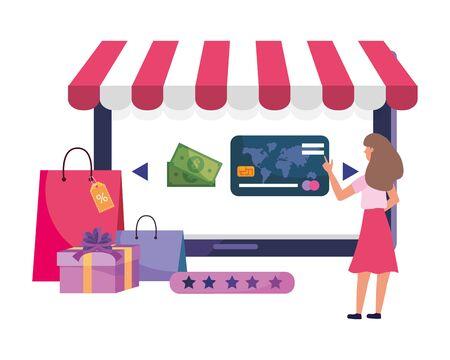 Woman shoppong online design, Store ecommerce media market and internet theme Vector illustration Ilustração