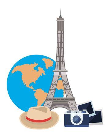 Eiffel tower landmark design, Travel trip vacation tourism journey and tourist theme Vector illustration Ilustracja