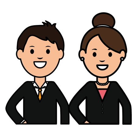 young business couple avatars characters vector illustration design Vectores