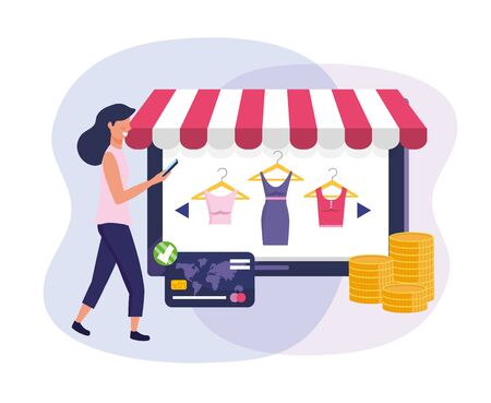 woman with tablet ecommerce and credit card to shopping vector illustration Foto de archivo - 128092134