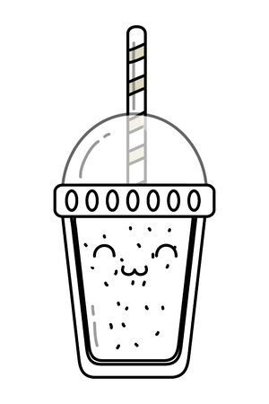 delicious tasty sweet milkshake cartoon vector illustration graphic design  イラスト・ベクター素材