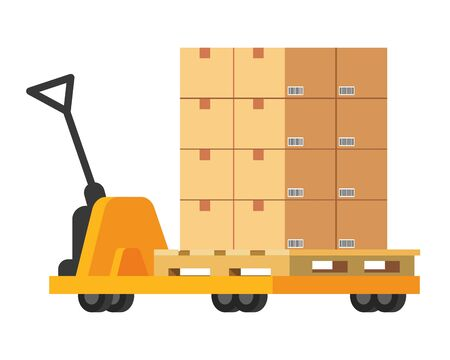 pushcart with box icon cartoon vector illustration graphic design Illustration