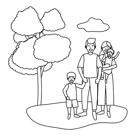 couple with children avatar cartoon character outdoor in the park black and white vector illustration graphic design