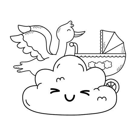 cute baby shower elements cartoon vector illustration graphic design Standard-Bild - 128093071