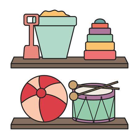 wooden shelf with toys vector illustration design