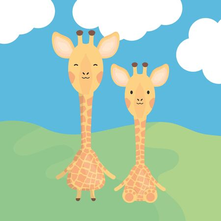 cute giraffes couple childish characters vector illustration design