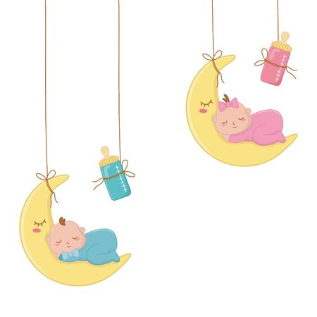 baby sleeping on the monn hanging with feeding bottle vector illustration graphic design