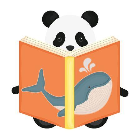 cute bear panda reading book of whale vector illustration design