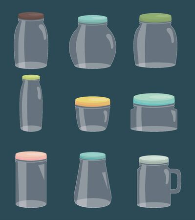 set of mason jars colorful vector illustration design