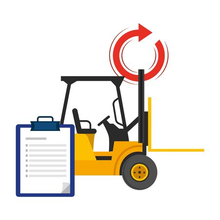 lift truck and checklist with return arrow vector illustration graphic design