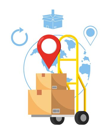 pushcart with box and a globe with location pointer vector illustration graphic design
