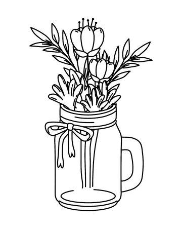 beautiful nature flowers inside decoration mason jar bottle plant pot cartoon vector illustration graphic design