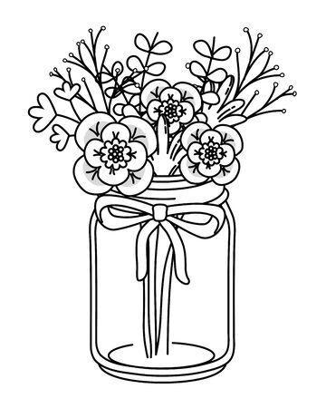 beautiful nature flowers inside decoration mason jar bottle plant pot cartoon vector illustration graphic design Stock Illustratie