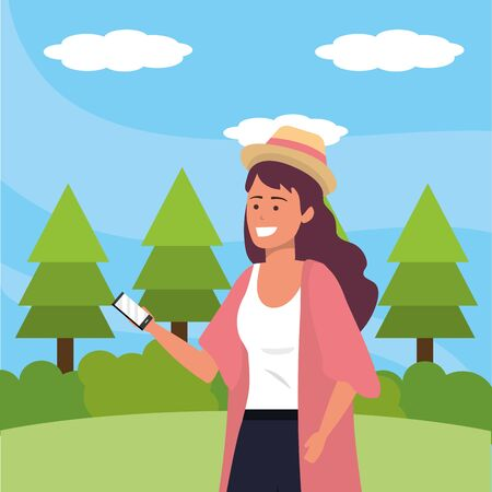 Millennial student purple dyed hair wearing kimono and hat using smartphone texting outdoors background with trees grass and bushes portrait vector illustration graphic design