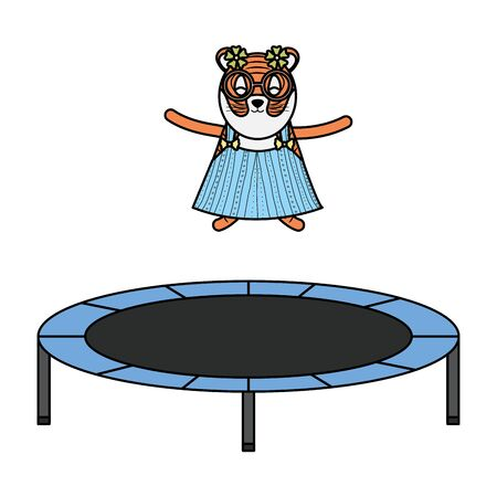 cute female tiger in slastic trampoline