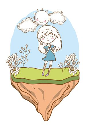 Cute girl cartoon stylish hairstyle nice outfit clothes blushing dress hopeful nature flowers background frame vector illustration graphic design