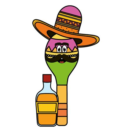 maraca with mexican hat character and tequila bottle vector illustration design