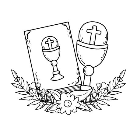 sacred chalice with holy bible vector illustration design 일러스트