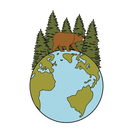 wild bear grizzly with earth planet and forest vector illustration design
