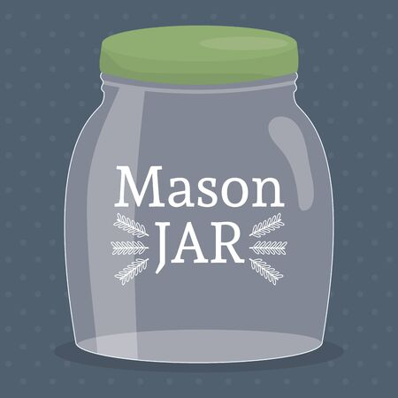 mason jar glass with lid vector illustration design