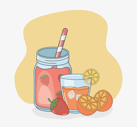 set of glasses containers with fruits juices and straws vector illustration design