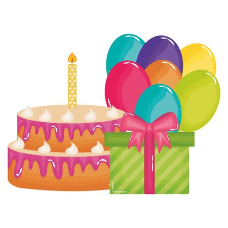 gift box with sweet cake and balloons helium floating vector illustration design