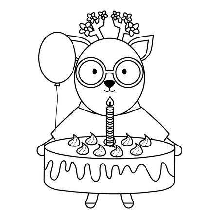 cute reindeer with sweet cake in party celebration vector illustration design