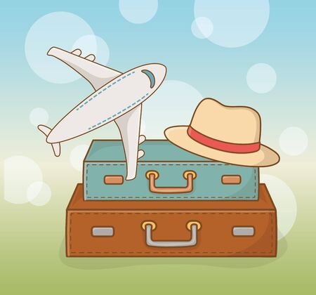 suitcases travel vacations with airplane and hat vector illustration design