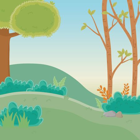 Trees in forest design, Green environment nature landscape and foliage theme Vector illustration  イラスト・ベクター素材