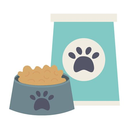 plastic dish with food and bag care mascot