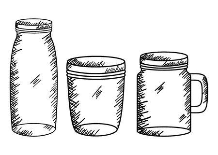 set of mason jars drawing art vector illustration design Иллюстрация