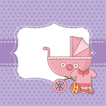cute baby shower elements invitation frame cartoon vector illustration graphic design