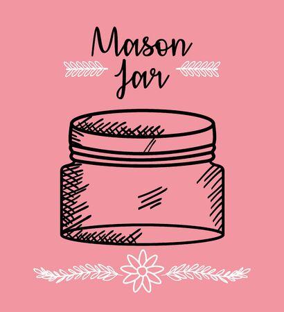 mason jar drawing art vector illustration design Иллюстрация