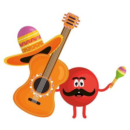 mexican emoji character with guitar vector illustration design