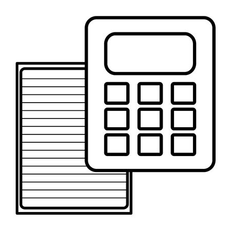 sheet of notebook paper with calculator Illustration