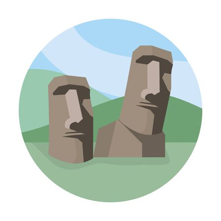 easter island with stone sculpture to trabel vacation