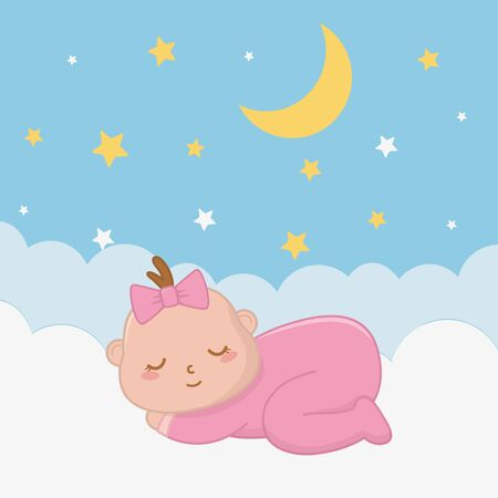 baby sleeping over a cloud with starry sky and moon vector illustration graphic design