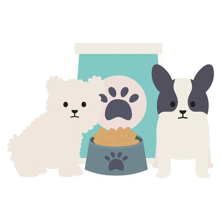 little dogs adorables with food bag and dish vector illustration design