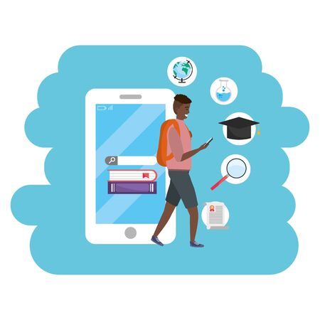 Online education millennial student wearing shorts and backpack using smartphone with account and password young person career search splash frame vector illustration graphic design Illustration