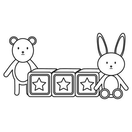 cubes blocks with bear and rabbit toys entertainment vector illustration design Illustration