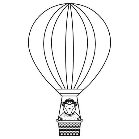 cute female monkey in balloon air hot vector illustration design Archivio Fotografico - 128383810