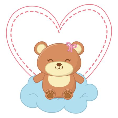 toy bear with bow sitting on a cloud and a heart behind vector illustration graphic design Illustration