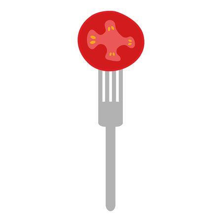 fresh tomato vegetable in fork vector illustration design