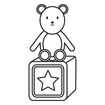 little bear teddy with block vector illustration design