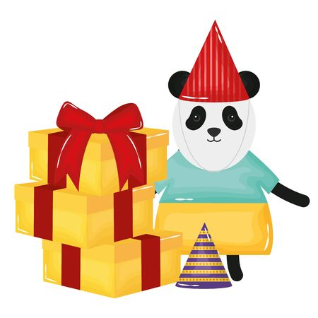 cute bear panda with gifts boxes in birthday party vector illustration design