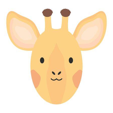 cute giraffe head childish character vector illustration design Archivio Fotografico - 128385183