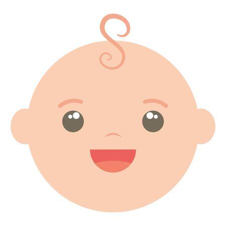 cute little baby boy head character vector illustration design Archivio Fotografico - 128416437
