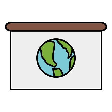 world map planet in paper board Ilustração