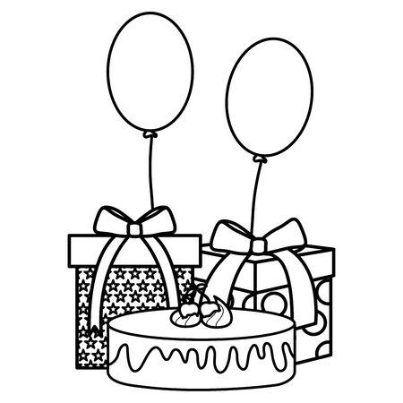 gift box with sweet cake and balloons helium floating vector illustration design Ilustração